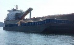 Loading Gypsum shipside in Plumper Sound