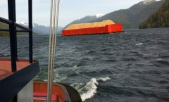 Towing load of chips down Inside Passage